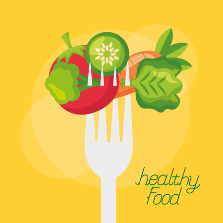 vegetables fresh healthy food on fork vector illustration Stock Illustratie