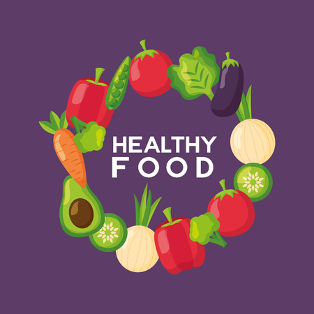 vegetables frame fresh health food vector illustration