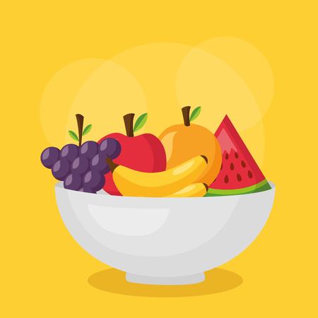 fruits in bowl fresh healthy food vector illustration