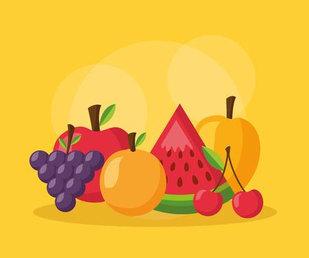 orange mango cherry watermelon apple healthy food vector illustration