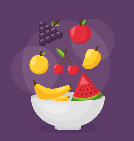 healthy food fruits on purple background vector illustration
