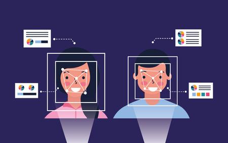 man and woman biometric process technology vector illustration Foto de archivo - 126819894