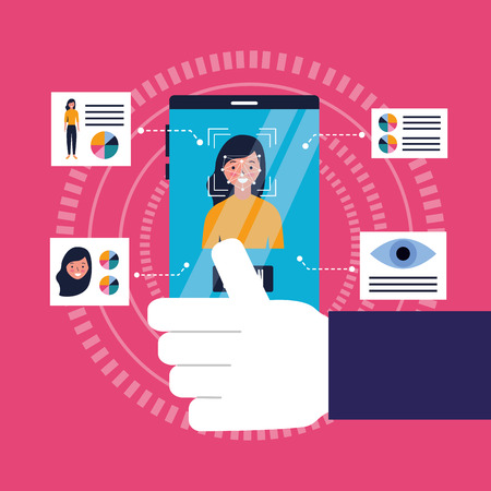hand with cellphone face scan biometric technology vector illustration