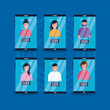 people face scan cellphone security access vector illustration