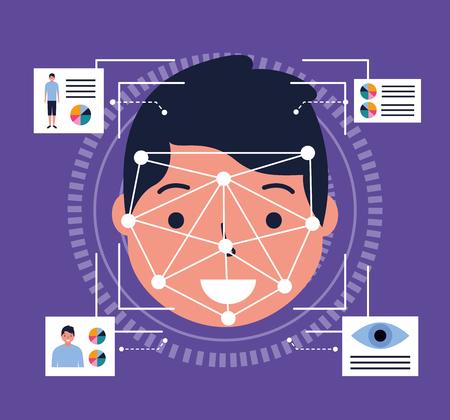 man face scan biometric digital technology vector illustration Standard-Bild - 126819915
