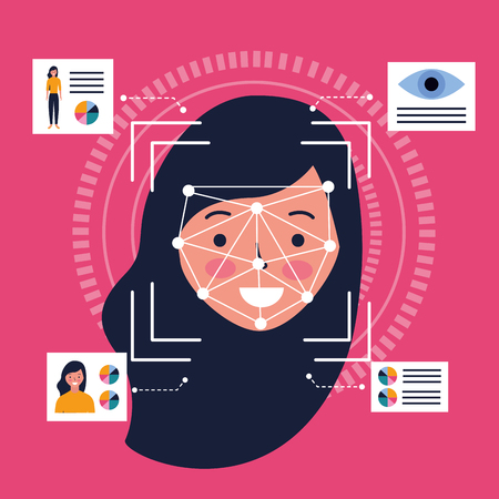 woman face scan process gadget vector illustration Vetores