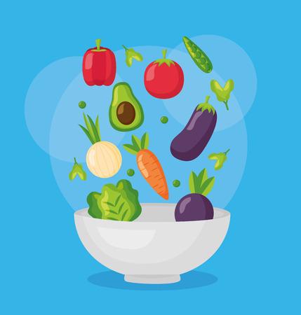 falling vegetables in bowl fresh healthy food vector illustration Zdjęcie Seryjne - 126819922