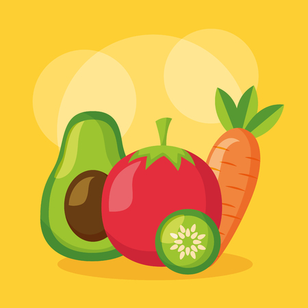 avocado tomato carrot and cucumber healthy food vector illustration Illustration