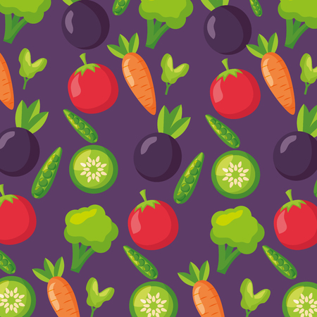 vegetables fresh healthy food on purple background vector illustration