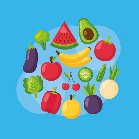 healthy food fruits and vegetable on blue background vector illustration