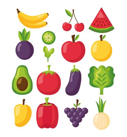 healthy food fresh vegetables and fruits background vector illustration