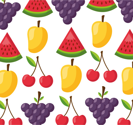 healthy food fresh fruits background vector illustration