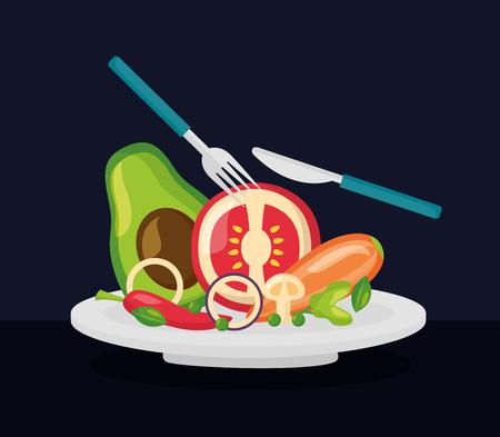 vegetables dish fork knife healthy food vector illustration Standard-Bild - 126819929