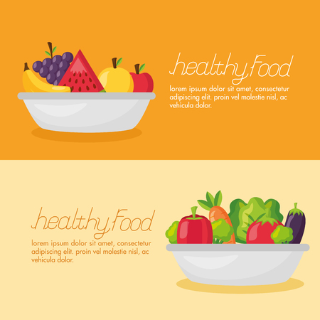 healthy food fresh bowls with vegetables and fruits vector illustration Stock Vector - 126819931
