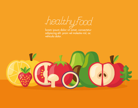 vegetables fruits healthy food fresh vector illustration