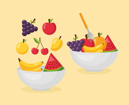 healthy food fresh bowls with fruits vector illustration Çizim