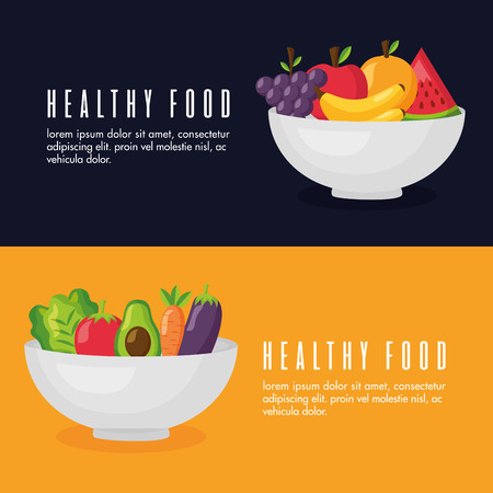 healthy food banner bowl with vegetables and fruits vector illustration