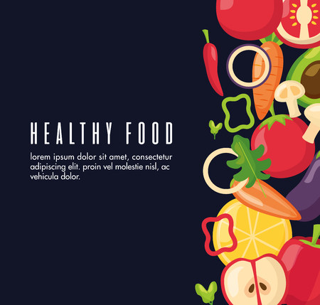 healthy food fresh black background vector illustration