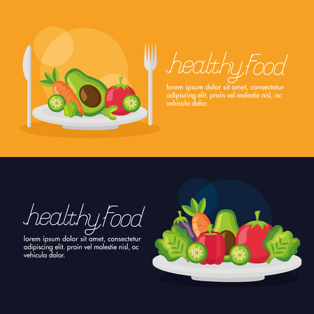 healthy food fresh dinner salad on dish vector illustration