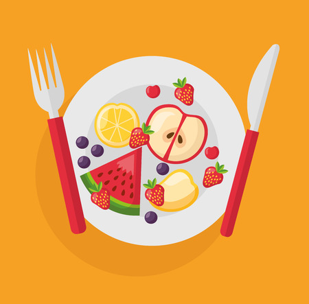 fruits on dish with fork fresh health food vector illustration Archivio Fotografico - 126819943