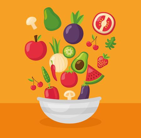 vegetables fruits bowl fresh healthy food vector illustration
