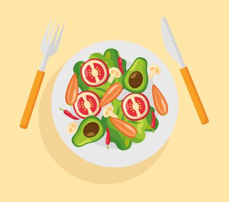 vegetables dish fork and knife healthy food fresh vector illustration Standard-Bild - 126819947