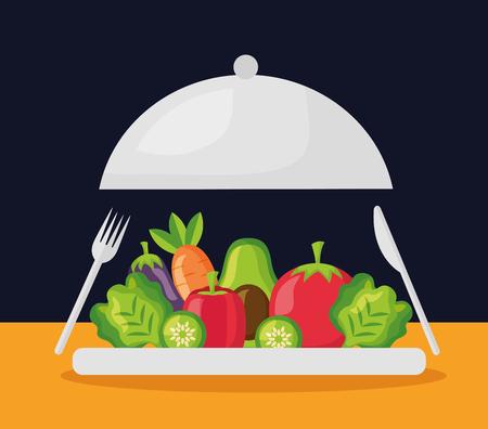 vegetables on dish healthy food vector illustration