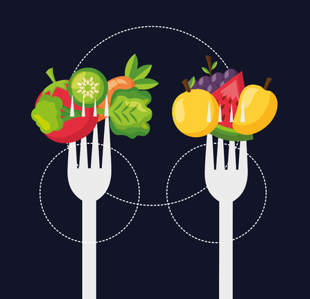 healthy food fresh forks with fruits and vegetables vector illustration Standard-Bild - 113813137