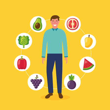 healthy food man stickers watermelon mango tomato avocado grapes vector illustration