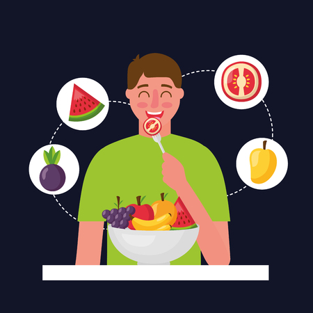 happy man eating tomato stickers watermelon mango healthy food vector illustration Banque d'images - 113813140