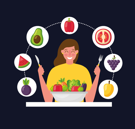 healthy food woman holding cutlery fruits avocado tomate mango watermelon vector illustration