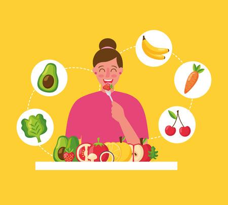 femme souriante, manger, fraise, nourriture saine, vecteur, illustration Vecteurs