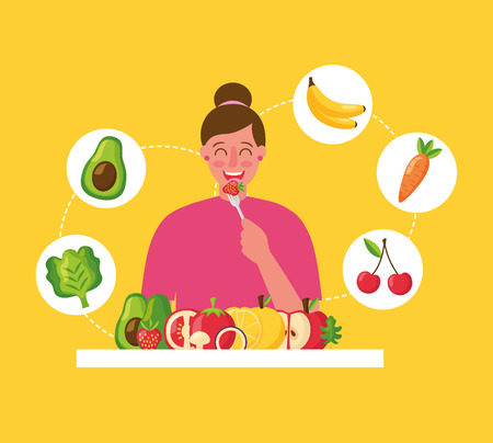 woman smiling eating strawberry healthy food vector illustration