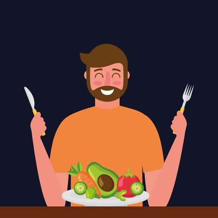 smiling man holding cutlery plate healthy food vector illustration