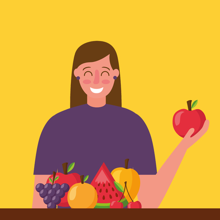 woman holding apple healthy food grapes mango watermelon cherry vector illustration Banque d'images - 113813088