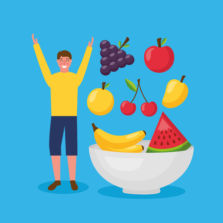 man hands up smiling healthy food banana watermelon apple grapes cherry vector illustration