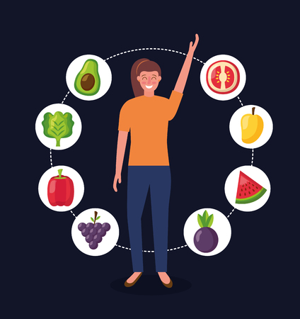 woman hand up stickers healthy food tomato avocado grapes beets lettuce vector illustration Illustration