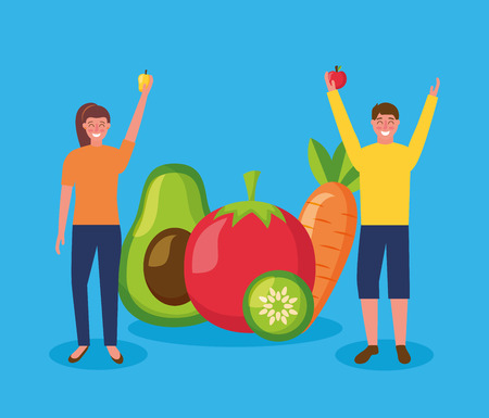 woman and man hands up holding apple mango healthy food avocado carrot vector illustration