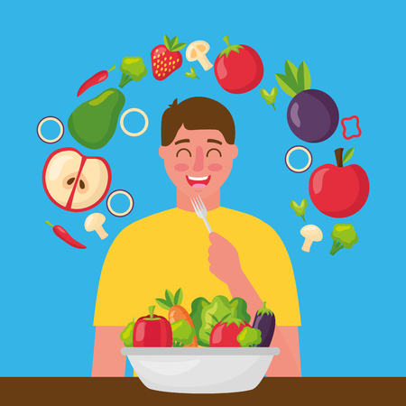 happy man eating healthy food vector illustration