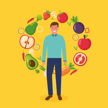 happy man healthy food apple tomato carrot avocado strawberry vector illustration 向量圖像