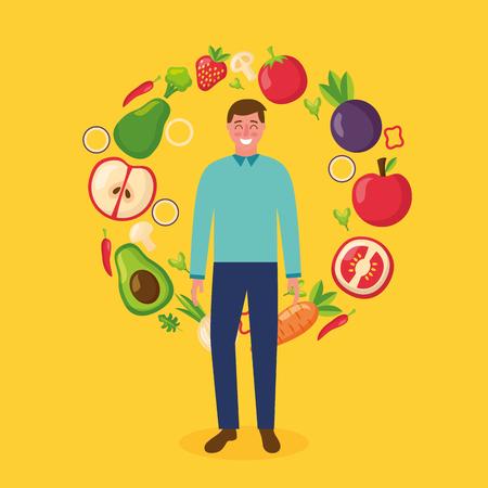 happy man healthy food apple tomato carrot avocado strawberry vector illustration Illustration