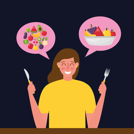 woman thinking healthy food delicious vector illustration