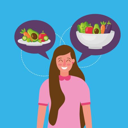 happy girl thinking healthy food plates delicious carrot apple avocado beets vector illustration Illustration