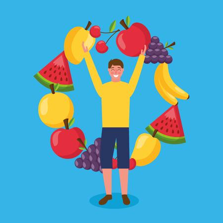 smiling man healthy food bananas watermelon grapes apple mango vector illustration