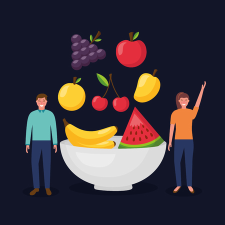 woman and man healthy food plate delicious mango grapes apple cherry vector illustration Иллюстрация