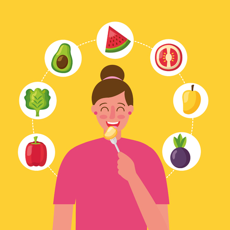 girl eating mango healthy food delicious vector illustration Illustration