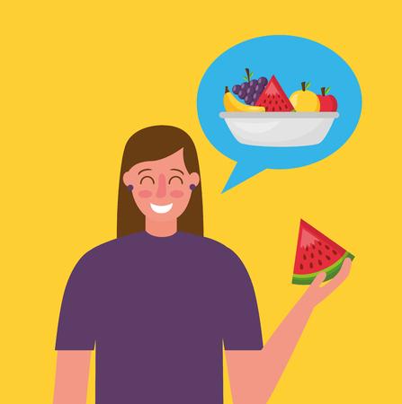 Frau, die Wassermelone hält, die gesunde Lebensmittelvektorillustration denkt Vektorgrafik