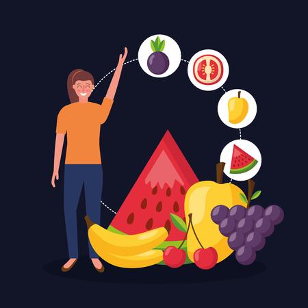 girl with healthy food watermelon mango grapes bananas mango cherry vector illustration