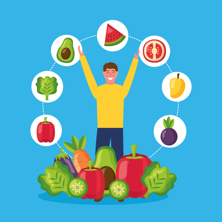 stickers man hands up healthy food lettuce tomato apple lettuces carrot vector illustration Stock Vector - 113806478