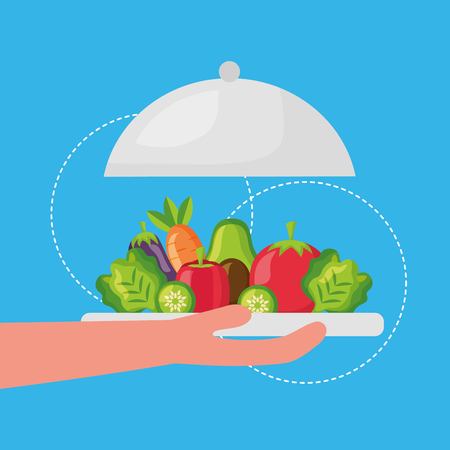 hand holding plate healthy food delicious vector illustration Banque d'images - 126819964